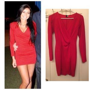WINDSOR red long sleeve mini dress.