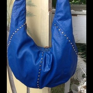 VTG ROYAL BLUE STUDDED LEATHER HOBO BAG