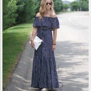 Loft French Hen Off Shoulder Maxi Dress