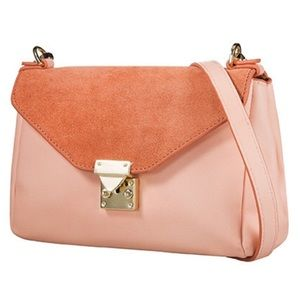 Handbags - Pink Crossbody Bag with Gold Chain