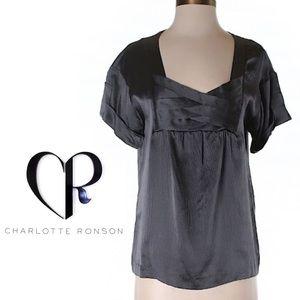 Charlotte Ronson Tops - Charlotte Ronson Grey Silk Short Sleeve Top