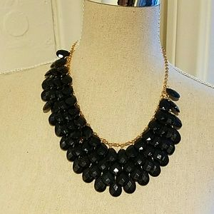 Jewelry - Black Onyx Statement Necklace Gold Overlay