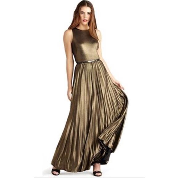 Donna Morgan Dresses Black Gold Metallic Pleated Maxi Poshmark