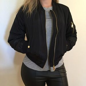 Jackets & Blazers - Black Padded Bomber Jacket