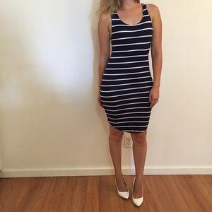 Dresses & Skirts - Navy Striped Curved Hem Tank Dress