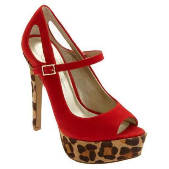 Jessica Simpson - Jessica Simpson red leopard heels from Megan's ...