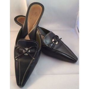 Cole Haan Shoes - Cole Haan Leather Kitten Heels Slides Mules BLACK