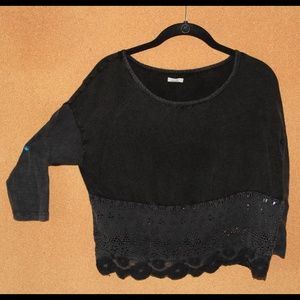 Urban outfitter black crop top w/ cutouts on end