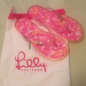 Lily Pulitzer Beach Sandals pink white