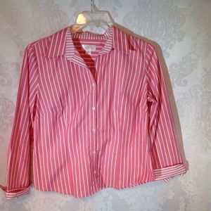 Ann Taylor Loft Pink and White Shirt