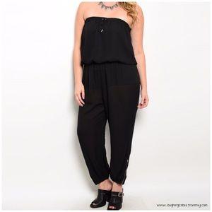 Zenobia Pants - Black Plus Sized Strapless Jumpsuit