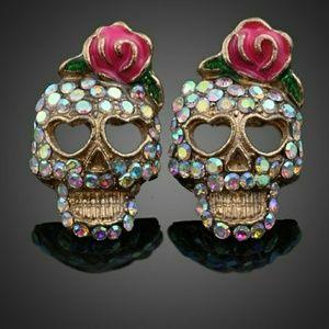 Jeweled Sugar Skull Earrings NWT! HP