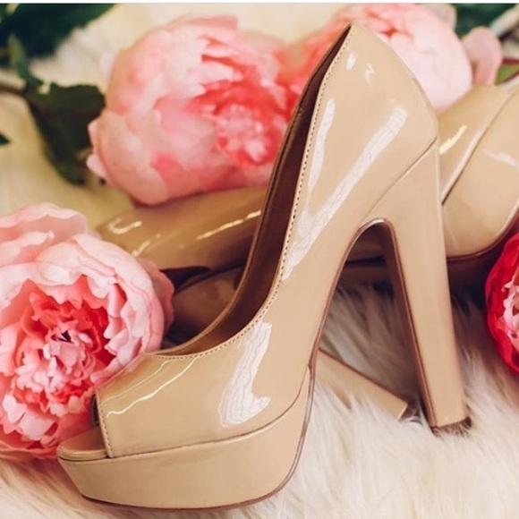 ca41b82770a Nude patent leather peep toe chunky heel platform