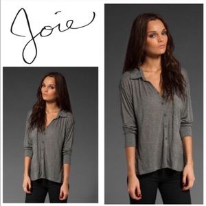 Joie Gray Soft Knit Button Down Top