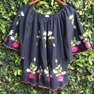 Vintage 70's Embroidered Flutter Floral Blouse