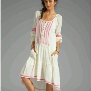FREE PEOPLE ADORABLE PINK AND WHITE GAUZE DRESS