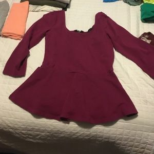 Burgundy 3/4 sleeved blouse