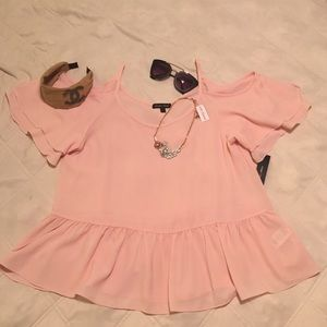 """Clearance! Flirty, """"pretty in pink"""" top  NWT"""