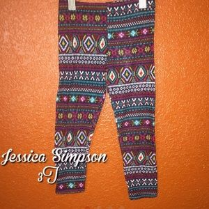 Jessica Simpson Colorful Tribal Thick Leggings 3T