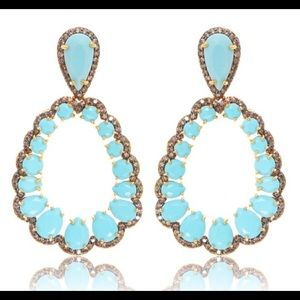 Chandelier earrings with turquoise gems