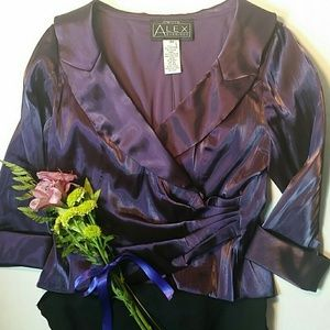 Alex Evenings Tops - Purple top with side rusching