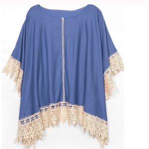 Tops - Denim Blue Poncho