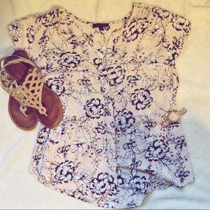 Carole Little Tops - Nude/Pink Floral Blouse