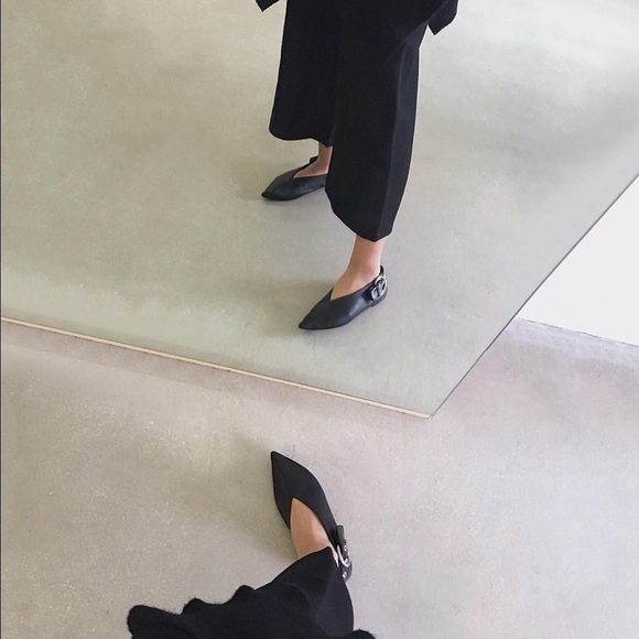 43ece003b Celine Shoes | Pointy Black Aladdin Flats With Silver Hardware ...