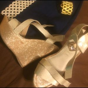 Gold glitter wedges