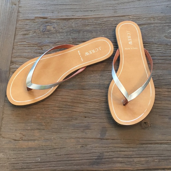 J Crew Shoes  Jcrew Leather Flip Flops With Silver -3238