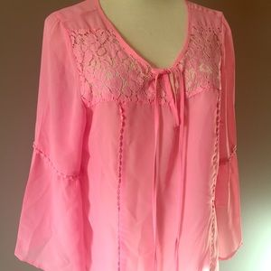 Millenium Tops - Pink chiffon lace peasant bell sleeve blouse M