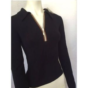 Aqua Tops - NWT AQUA ZIPPER BLACK KNIT TOP! XS white zip shirt