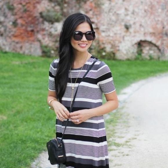 LOFT Dresses - Black and White T-Shirt Trapeze Dress