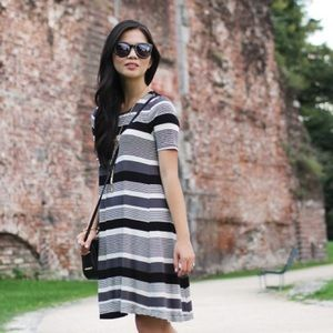 Black and White T-Shirt Trapeze Dress