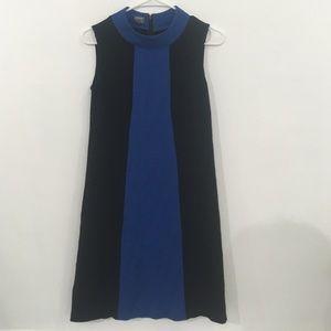 Sleek Mod style black dress w/ central blue panel