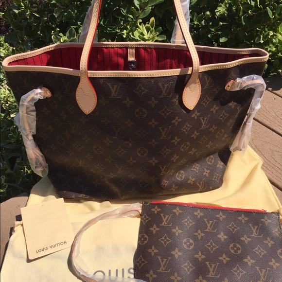 Louis Vuitton Handbags New Monogram Neverfull Mm Wpouchette Red Lining Poshmark