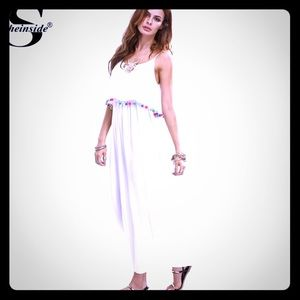 White Pom Pom maxi dress