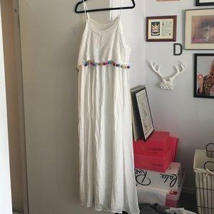 Dresses - White Pom Pom maxi dress