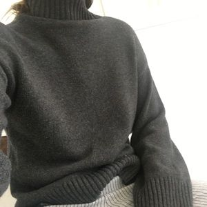 Gray oversized slouchy turtleneck sweater