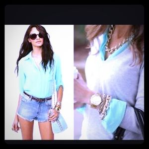 Mint/ sea foam equipment blouse