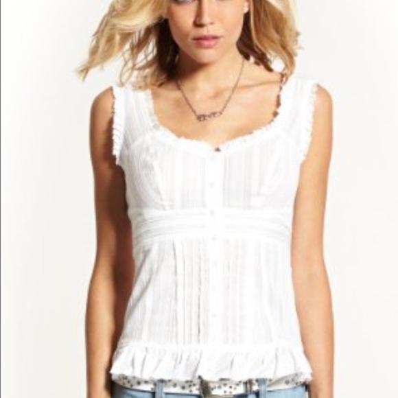 e0a1336b4361a GUESS Tops | Nwt White Button Lace Trim Ruffle Top | Poshmark