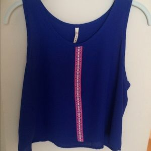Royal blue crop top with colorful stripe