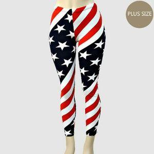 American flag print leggings plus size