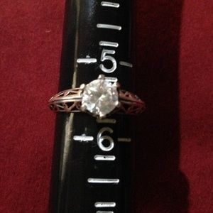 Gorgeous silver CZ ring, antique style!