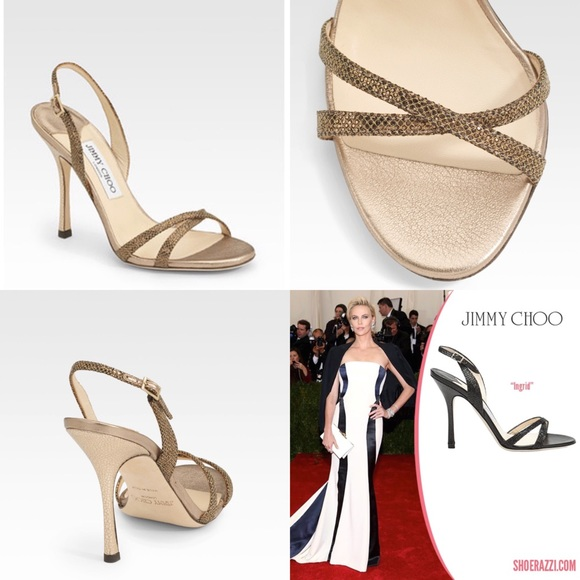 d132b4642bc Jimmy Choo Shoes - Jimmy Choo Ingrid bronze glitter strappy sandals