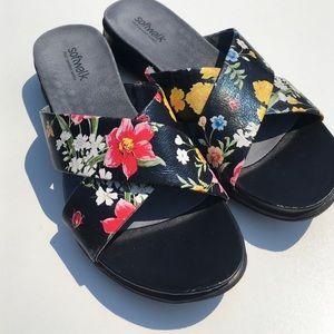 Softwalk Shoes - Softwalk Black Floral Sandals 9N