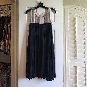 Anthro Navy Bubble dress