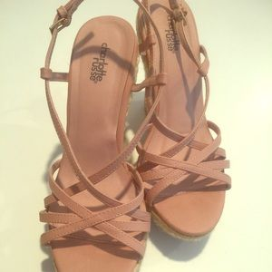 Pink strappy wedges