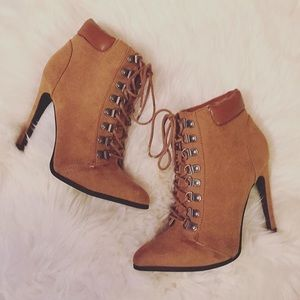 Forever 21 Shoes - Brown Suede Lace-up Heeled Ankle Booties
