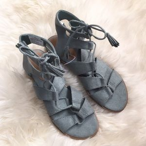 Old Navy Shoes - Blue Suede Flat Gladiator Sandals